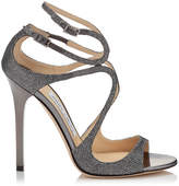 Jimmy Choo LANCE Anthracite Lamé Glitter Sandals