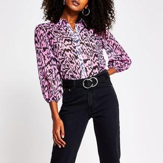 River Island Womens Pink long sleeve print shirt