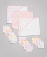 SpaSilk Pink Hooded Towel & Washcloth Set