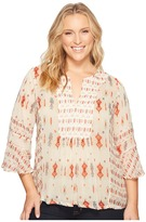 Lucky Brand Plus Size Mix Print Boho Top Women's Long Sleeve Pullover