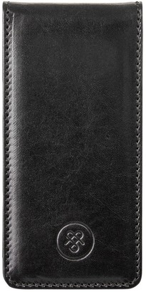 Maxwell Scott Bags Maxwell Scott Luxury Black Leather Flip Phone Case - Renato Black