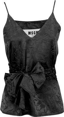 MSGM Floral Jacquard Tie-Waist Top