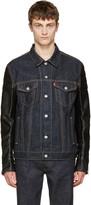 Junya Watanabe Indigo Faux-leather Sleeves Denim Jacket