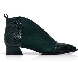 Rania Kroupi Galaxy Booties Dark Green Snake Skin & Suede Leather