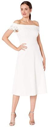 Calvin Klein Off Shoulder A-Line w/ Laser Cut Detail (White) Women's Dress