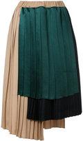 ASTRAET asymmetric stepped hem pleated skirt
