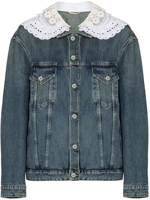 Miu Miu Lace-Trim Denim Jacket