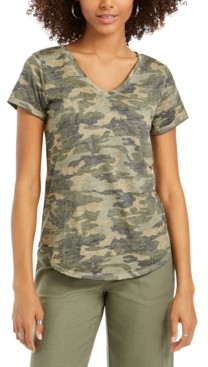 Style&Co. Style & Co Washed Camo-Print T-Shirt, Created for Macy's