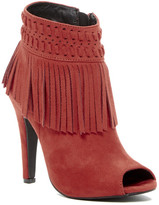 C Label Detroit Open Toe Fringe Heeled Bootie