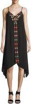 Neiman Marcus Embroidered Sleeveless Dress, Black