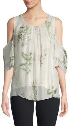 Le Marais Floral-Print Silk Cold-Shoulder Top