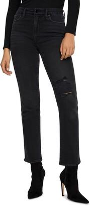 Good American Good Classic Ripped High Waist Straight Leg Jeans