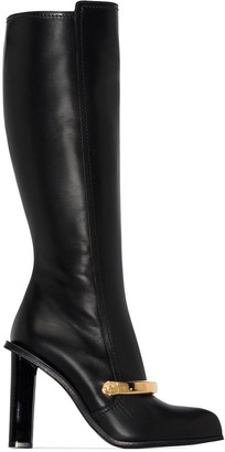 Alexander McQueen Embellished Leather Knee Boots