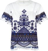 Sacai tribal lace organza top - women - Cotton/Polyester - 3