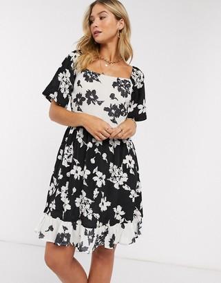 Vila square neck mini dress in contrast floral