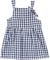 Sweet & Soft Blue & White Gingham Bow Tiered Dress - Infant