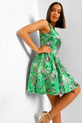 boohoo Jacquard Square Neck Skater Dress