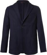 Altea Navy Slim-Fit Textured Wool-Blend Blazer