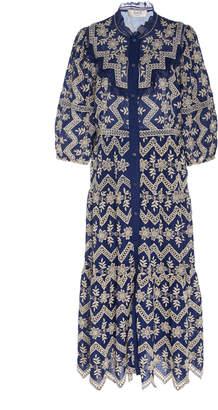 Sea Ruffled Cotton Broderie Anglaise Midi Dress