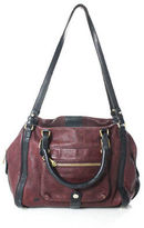 Gryson Wine Red Black Leather Gold Tone Zipper Closure Shoulder Handbag