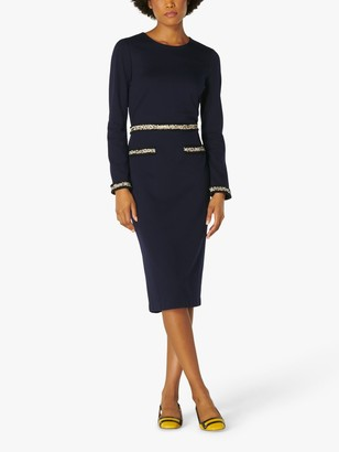 LK Bennett Vinnie Trim Detail Dress, Midnight