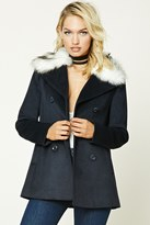 Forever 21 FOREVER 21+ Faux Fur Collar Coat