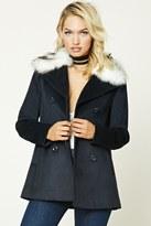 Forever 21 FOREVER 21+ Faux Fur Collar Coat