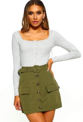 Pink Boutique Spring To Action Khaki Button Front High Waisted Mini Skirt