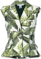 Oscar de la Renta leaf print sleeveless jacket