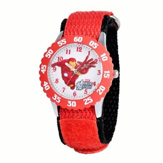Marvel Iron Man Boys' Stainless Steel Time Teacher Red Bezel Watch, Red Nylon Strap