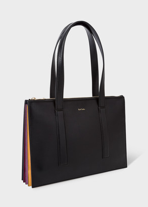 Paul Smith Women's Black Leather Zip-Top 'Concertina' Small Tote Bag