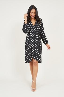 Yumi Black Polka Dot Wrap Effect Dress