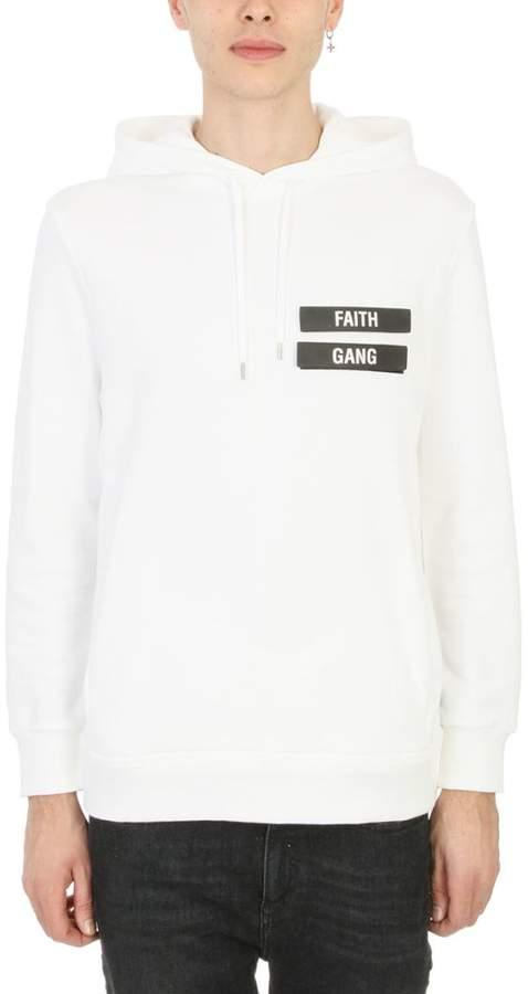 Neil Barrett Faith Gang White Cotton Sweatshirt