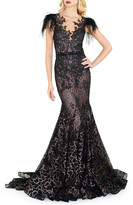 Mac Duggal 6-Week Shipping Lead Time Feather Embellished Cap-Sleeve Dress