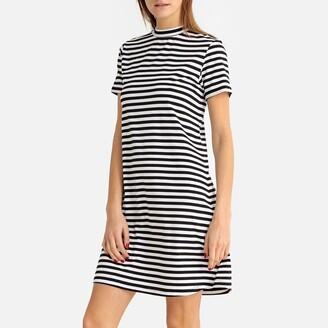 Breton Striped High-Neck A-Line Dress