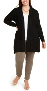 Belldini Plus Size Stitched Open-Front Cardigan Sweater