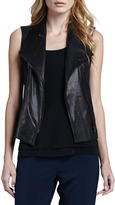 Vince Leather-Front Twill Vest
