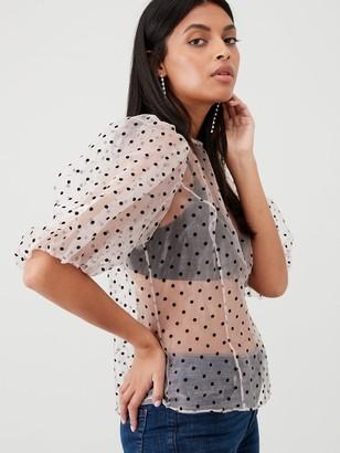 Very Spot Sheer Blouson Sleeve Top - Blush