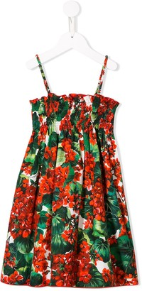 Dolce & Gabbana Ruched Floral Dress