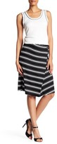 Max Studio Stripe Ponte Faux Wrap Skirt