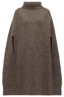 Jil Sander Cashmere-blend Rib Knit Cape - Womens - Grey