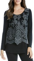 Karen Kane Embroidered Lace Overlay Top