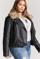 Forever 21 Plus Size Faux Fur-Trim Moto Jacket
