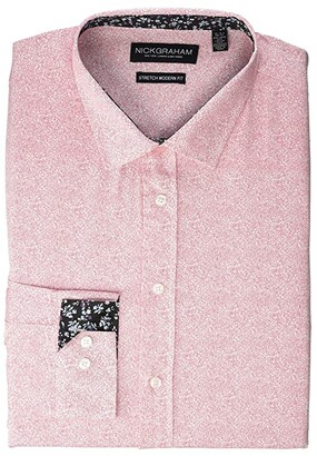 Nick Graham Organic Floral Stretch Dress Shirt (Pink) Men's Long Sleeve Button Up