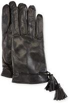 Imoni Leather Tassel Gloves, Black