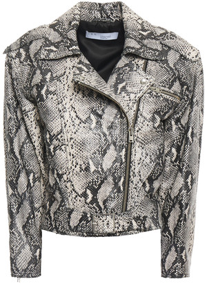 IRO Perri Snake-effect Leather Biker Jacket