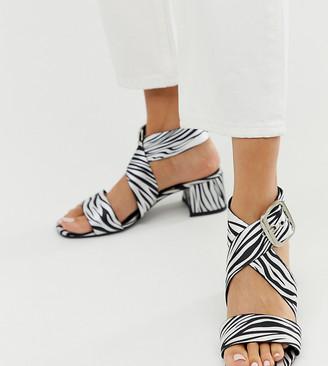 Asos Design DESIGN Hip Hop heeled sandals in zebra-Multi