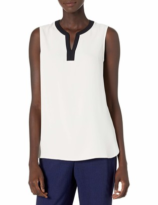 Anne Klein Women's Framed Split Neck Sleeveless Blouse
