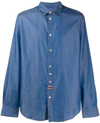 Paul Smith Embroidered-Stripe Denim Shirt