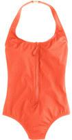 J.Crew Long-torso zip-front halter one-piece swimsuit in Italian matte